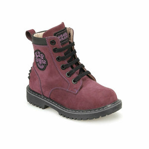 Girl's Lace-up Purple Boots