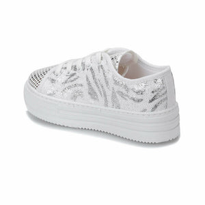 Girl's Sequin White Shoes