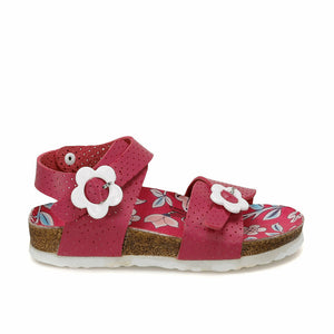 Girl's Floral Pattern Fuchsia Sandals