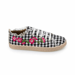 Girl's Lace-up Checkered Sneakers