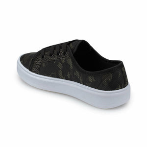 Boy's Camo Pattern Black Khaki Sneakers