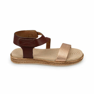 Girl's Brown Leather Sandals