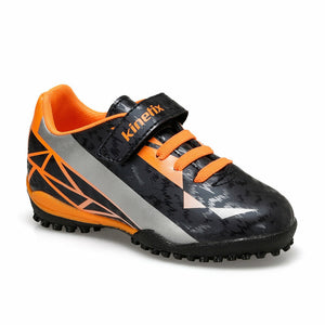 Boy's Navy Blue Neon Orange Football Shoes