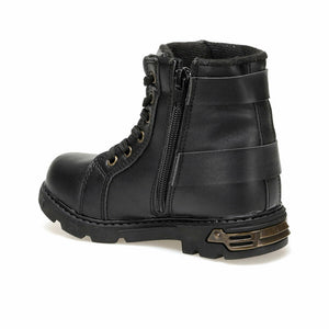 Boy's Zipped Lace-up Black Boots