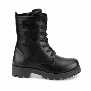 Girl's Lace-up Black Boots