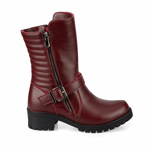 Girl's Long Claret Red Boots