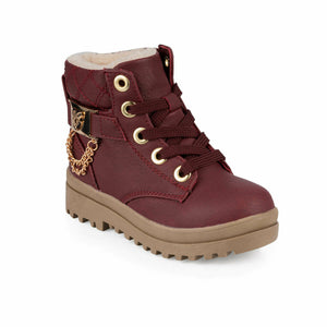 Girl's Lace-up Claret Red Boots