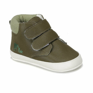 Boy's Velcro Strap Khaki Walking Shoes