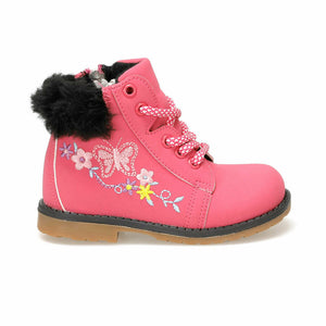 Girl's Embroidered Fuchsia Boots