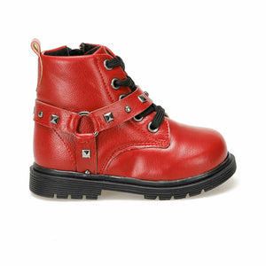 Girl's Studded Red Boots