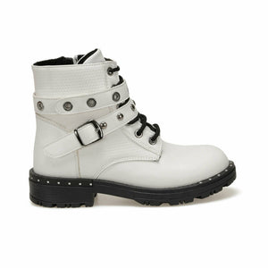 Girl's Belted Lace-up White Boots