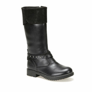 Girl's Black Long Boots