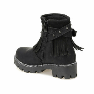 Girl's Fringe Black Boots
