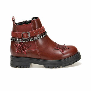 Girl's Chain Sequin Claret Red Boots