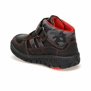 Boy's Velcro Strap Lace-up Black Boots