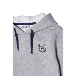 Boy's Hooded Embroidered Grey Sweatshirt