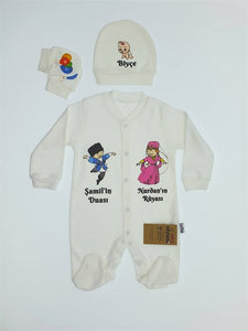 Baby's Personalized Reversible Print Romper Set