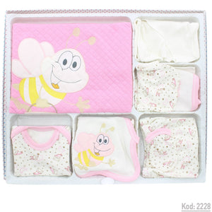 New Born Baby's Bee Print 10 Piece Outfit Set