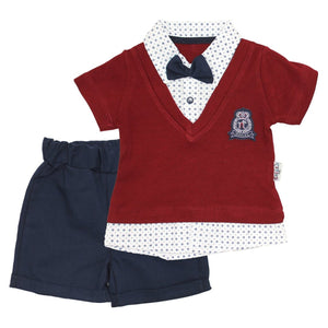 Baby's Summer Claret Red T-shirt & Shorts Set
