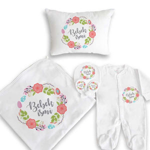 Baby Girl's Printed White Newborn Set