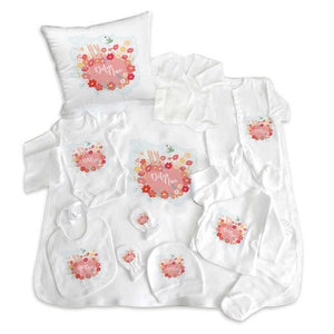 Baby Girl's Personalized Newborn Set- 11 Pieces