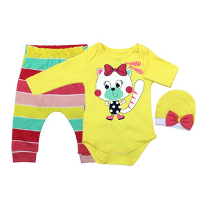 Baby Girl's Multi-color Striped Tights & Yellow T-shirt Set