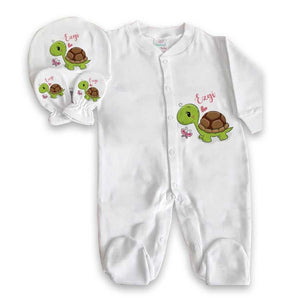 Baby Boy's Personalized Turtle Print Romper Set