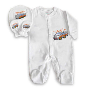 Baby's Car Print Grey Romper Set