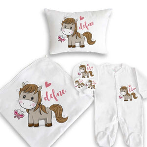 Baby Girl's Printed White Newborn Set- 5 Pieces