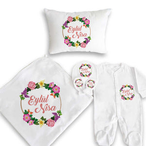 Baby Girl's Personalized Newborn Set- 5 Pieces