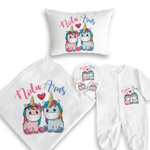 Baby Girl's Personalized Unicorns Print Newborn Set- 5 Pieces