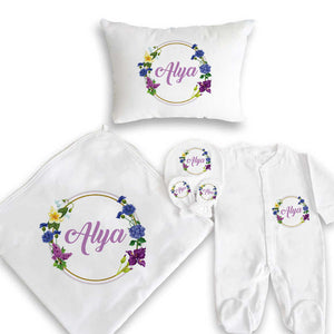 Baby's Floral Detail Personalized Gift Set