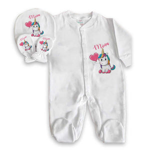 Baby Girl's Personalized Printed White Romper Set