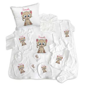 Baby's Cat Print White Newborn Set- 11 Pieces