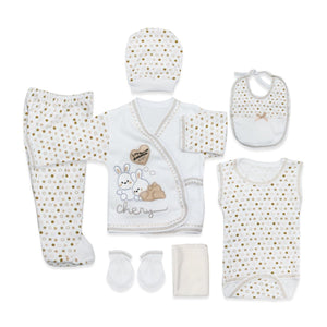 New Born Baby's Dotted 8 Pieces Outfit Set