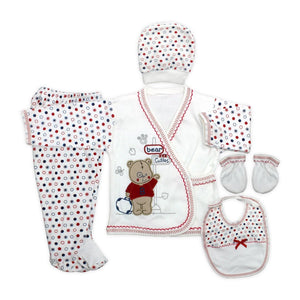 New Born Baby's Polka-Dot Printed 5 Pieces Outfit Set