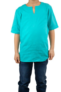 Boy's Short Sleeves Turquoise T-shirt