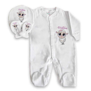 Baby Boy's Personalized White Romper Set