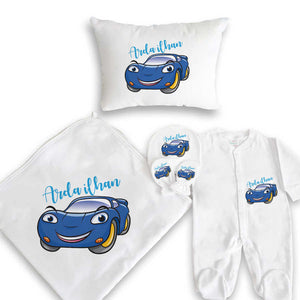 Baby Boy's Car Print White Newborn Set