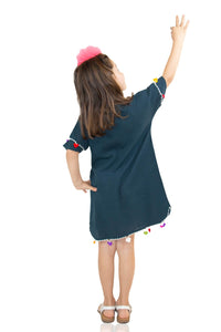 Girl's Embroidered Petrol Short Dress