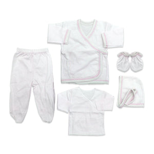 New Born Baby's White 5 Pieces Outfit Set