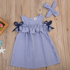 Hot 2018 New Summer Dress Toddler Kids Baby Girls Lovely Birthday Clothes Blue Striped Off-shoulder Ruffles Party Gown Dresses
