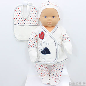 New Born Baby's Printed 5 Pieces Outfit Set