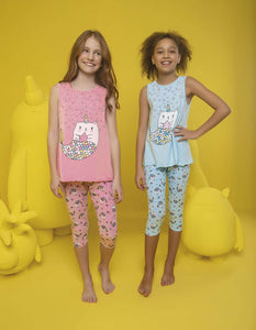 Girl's Unicorn Print Capri Pajama Set