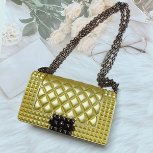 women purses chain matter frosted lock jelly handbag