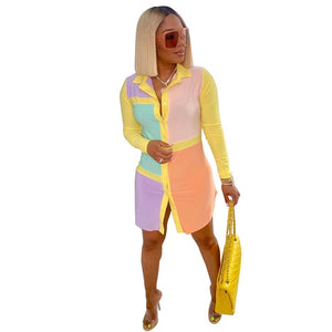 Long sleeves habits femme fashionable color stitching women clothing dress