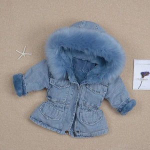 Bby girls faux fur fleece warm thick denim coat