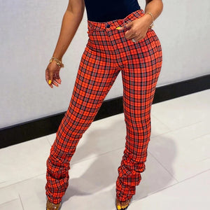 Plaid stacked pants