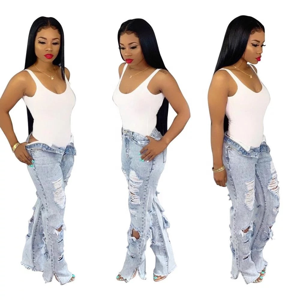 Bell bottom jeans high waist