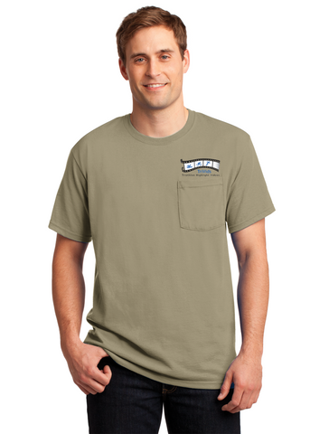 Hunky Dory - JERZEES® - Heavyweight Blend™ 50/50 Cotton/Poly Pocket Embroidered T-Shirt (29MP)